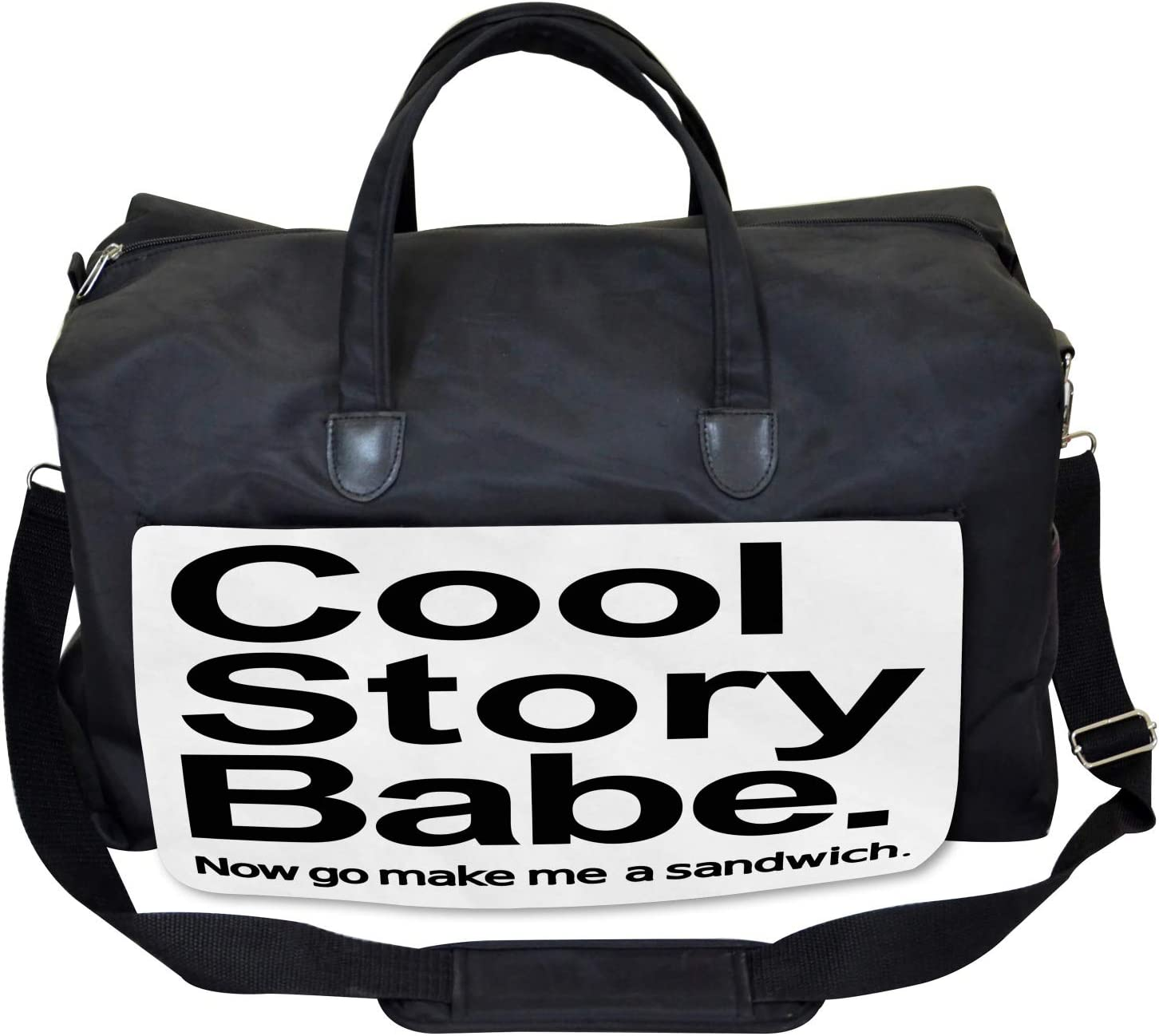 Large Weekender Carry-on Cool Story Babe Sarcasm Ambesonne Quote Gym Bag
