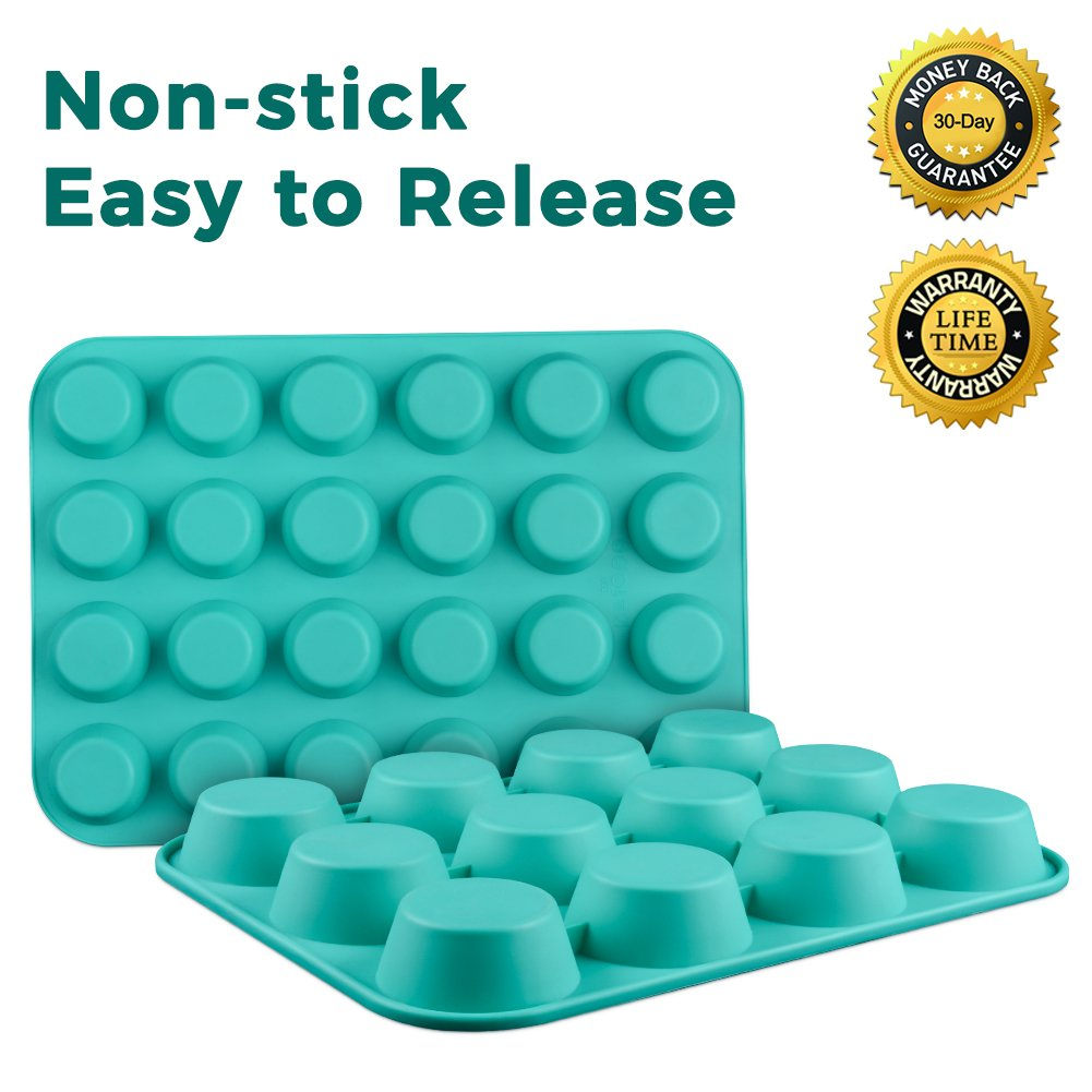 Silicone Muffin Cupcake Pan Set - Mini 24 Cups and Regular 12 Cups Muffin Tin, Nonstick BPA Free Best Food Grade Silicone Molds with Bonus 12 Silicone Baking Cups by Silikolove (Image #6)