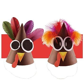 BESTOYARD Sombrero de Disfraces de acción de Gracias Turquía con Plumas  para niños y Adultos Sombrero de Papel Hecho a Mano Bricolaje Accesorios de  ... a743b602174