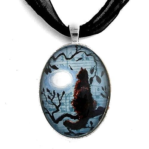 Amazon.com: Pelo largo gato negro collar Luna Azul Hecho a ...