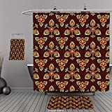 Uhoo Bathroom Suits & Shower Curtains Floor Mats And Bath TowelsAntique Classical Floral Arabesque Islamic Pattern in Vibrant Colors Artsy Image Gold Chestnut BrownFor Bathroom