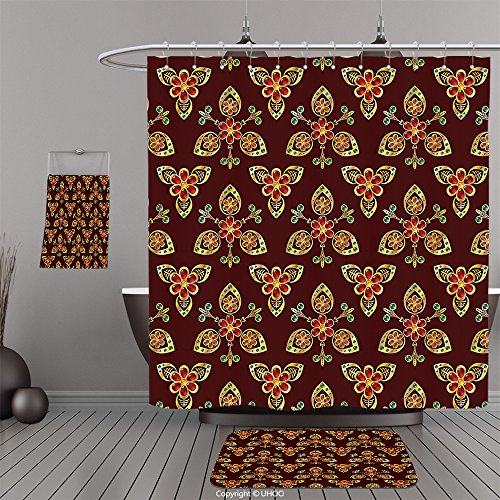 Uhoo Bathroom Suits & Shower Curtains Floor Mats And Bath TowelsAntique Classical Floral Arabesque Islamic Pattern in Vibrant Colors Artsy Image Gold Chestnut BrownFor Bathroom by UHOO