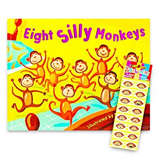 Eight Silly Monkeys Book Set for Kids Toddlers with Stickers