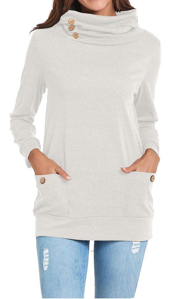 Chicgal Casual Long Sleeve Cowl Neck Tunic Tops Women Light Grey M