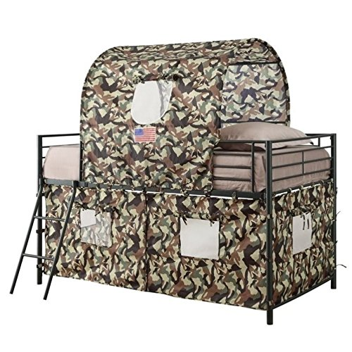 Bowery Hill Camouflage Tent Bunk Bed in Green