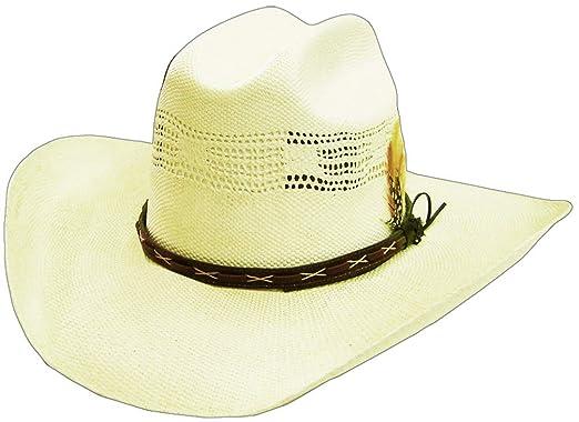 Amazon.com  Modestone Feather Bangora Straw Cowboy Hat 53   Sizes ... 28c4a3a4aed