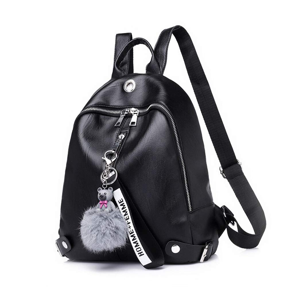 Soft Leather Backpack Outdoor Travel Climbing Rock Climbing Knapsack Casual Business Backpack Mens and Womens College Bag Fashion Water-Repellent Backpack Color : Black, Design : A