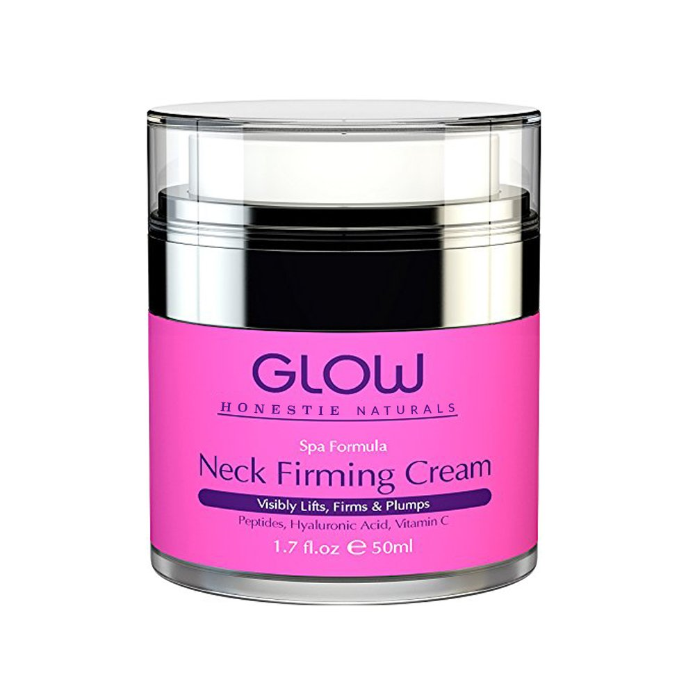 Neck Firming Cream – Best Anti Aging Moisturizer. Tightens and Firms Loose Skin, Fine Lines and Wrinkles – With Hyaluronic and Glycolic Acid, Peptides & Vitamin C. GLOW Johann Frieda 1.7 oz Honestie Naturals