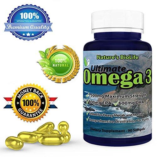 Omega 3 800-600 * BioLife Ultime Force de la nature * 90 gélules * 1500 mg d'oméga-3 acides * supplément d'huile gras essentiels 100% Garantie Satisfait ou remboursé * Poisson * Haute Puissance 800 mg d'EPA et 600 mg de DHA par portion * gélules sont faci