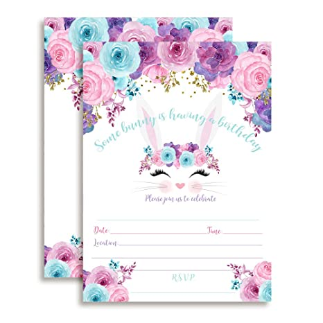 Bunny Face with Pink Blue and Purple Watercolor Flowers Easter Birthday Party Invitations for Girls,