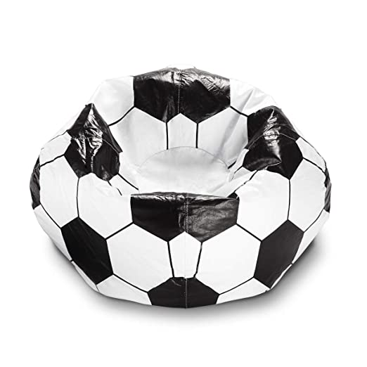 Puf de fútbol de 28 pulgadas, color blanco y negro, con diseño de ...