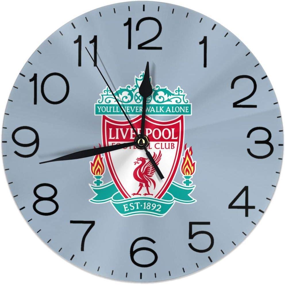 Melinda Perrodin UEFA Liverpool - Reloj de Pared con Logotipo, Reloj Redondo, Reloj Elegante, Pintura al óleo, Reloj Digital, Silencio