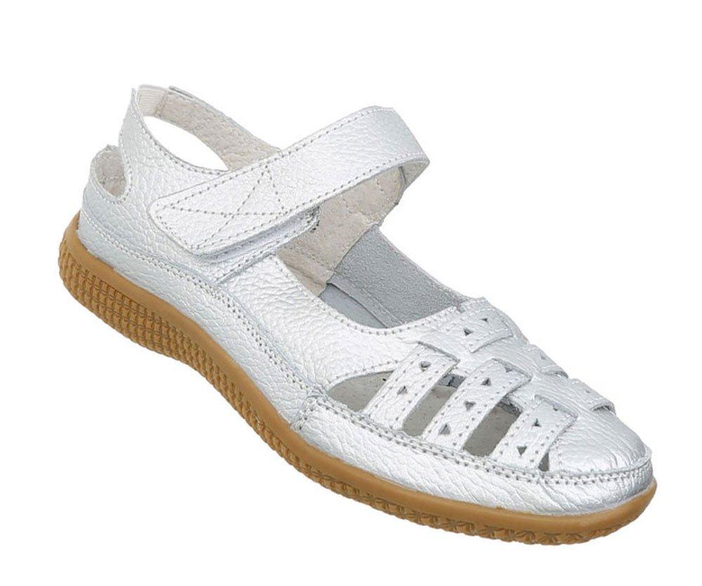 Damen Schuhe Sandalen Leder Klettverschluszlig;41 EU|Silber