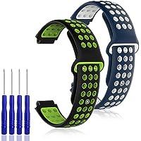 AFUNTA 2PCS Reemplazo de silicona Compatible con Garmin Forerunner 220/230/235/620/630 / 735XT y Garmin Approach S20 S5 S6, pulsera de correa suave, azul blanco y negro verde, con destornilladores 4PCS