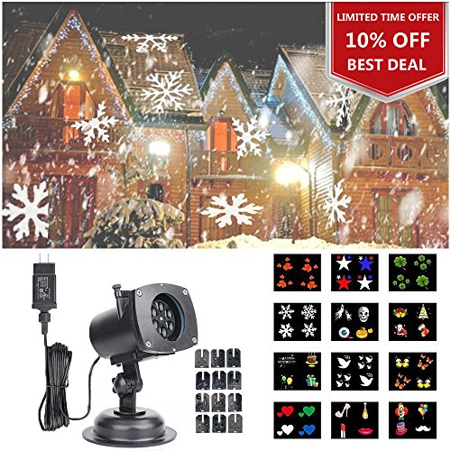 Christmas Projector Light, HOSYO [Upgraded] Waterproof LED Projection Spotlight 12 Switchable Patterns for Christmas Halloween Party Birthday Holiday Landscape Indoor and Outdoor Decoration (Laser Lights Christmas)