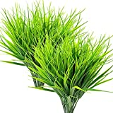 YUEJIA 8 Pcs Artificial Outdoor Plants, Fake Plastic Greenery Shrubs Wheat Grass Outdoor Window Box Verandah Hanging Planter Indoor Outside Home Garden Office Wedding Decor