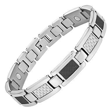 1843c3f479107 Mens Carbon Fiber Titanium Magnetic Bracelet Adjustable By Willis Judd