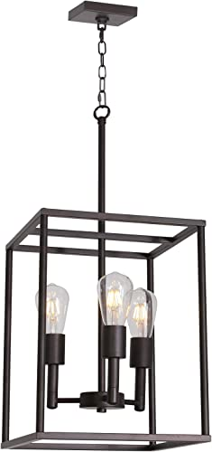VINLUZ 3 Light Farmhouse Chandelier Black Fixture
