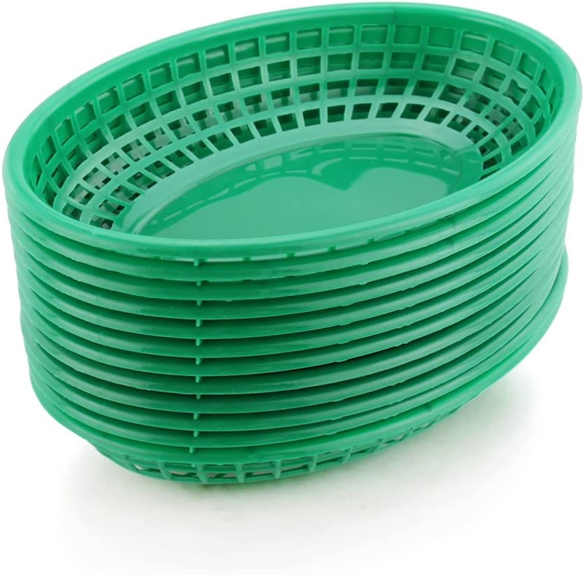 New Star Foodservice 44133 Fast Food Baskets, 9 1/4-Inch x 6-Inch Oval, Set of 36, Green