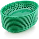New Star Foodservice 44133 Fast Food Baskets, 9.25 x 6 Inch Oval, Set of 36, Green