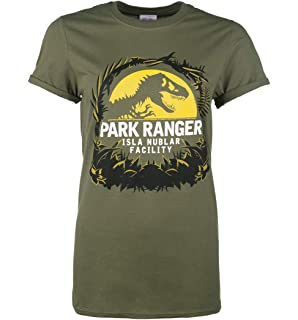 79d8e1af Womens Jurassic Park Isla Nublar Facility Military Green Boyfriend Fit T  Shirt W
