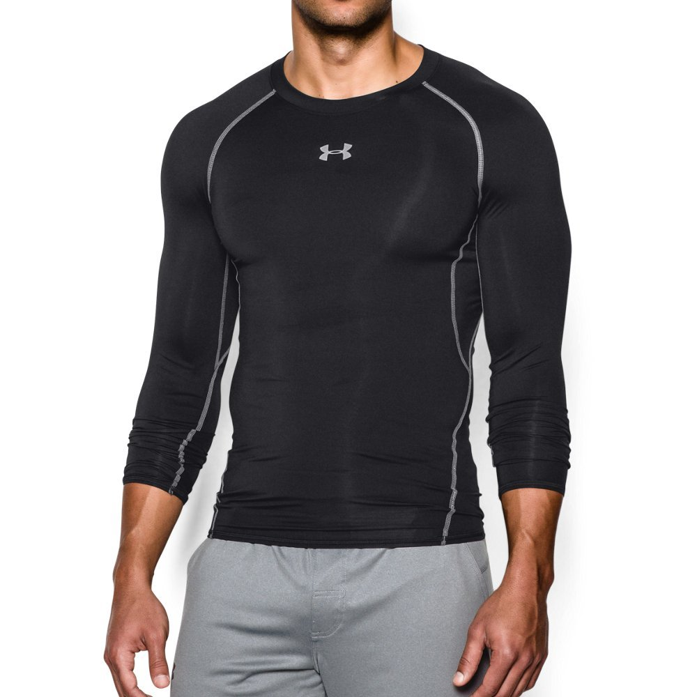 Under Armour 1257471  Men's HeatGear Armour Long Sleeve Compression Shirt, Black/Steel, Small