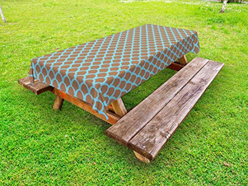 (Ambesonne Fish Outdoor Tablecloth, Squama Pattern with Intertwined Half Circles Aquatic Animal and Snake Scale Design, Decorative Washable Picnic Table Cloth, 58