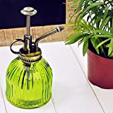 Glass Watering Spray Bottle, Leagway Vintage Style Spritzer With Bronze Plastic Top Pump One Hand Watering Can Spary Bottle, Decorative Plant Atomizer Mister for Indoor Potted Plants Flowers (Green)