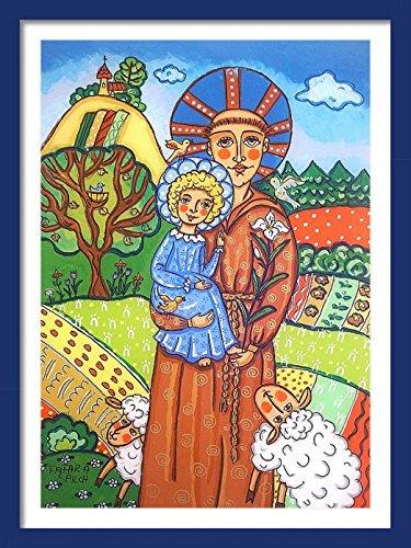 Saint Francis print St Francis print Jesus Christ Saint Francis painting Saint picture Catholic art St Francis painting Catholic saint print Children patron saint Catholic print Christening gif