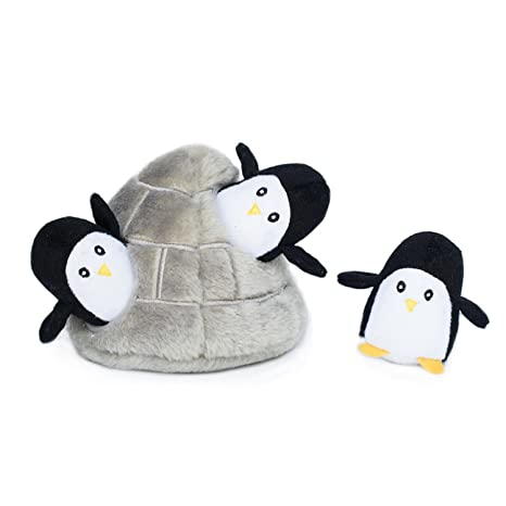 ZippyPaws Zoo Friends Burrow, Interactive Squeaky Hide and Seek Plush Dog  Toy - Penguin Cave