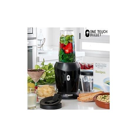 Appetitissime One Touch Monster Bullet Batidora de vaso con recetario y accesorios 1200 W, Vidrio