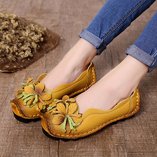 New Flower yellow SUNROLAN Pattern style Handwork Multi Shoes Fall Style5 Flat on Womens Leather Slip Loafer 8FZCnYHF