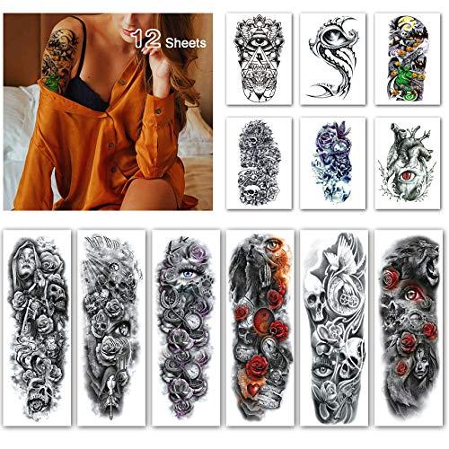 Leoars Halloween Full Sleeve Temporary Tattoos Skull Eye Theme - Waterproof Skull Arm Tattoos Temporary Halloween and Extra Large Tattoo Sleeves for Men and Women -12 Sheets]()
