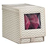 mDesign Chevron Fabric Storage Box for Shoes, Boots, Pumps, Sandals, Flats with a Clear Window and Hinged Lid for Closet Storage - Zig Zag Geometric Pattern - Medium, Taupe/Natural