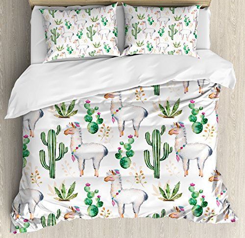 Ambesonne Cactus Duvet Cover Set, Hot South Desert Plant Cactus Pattern with Camel Animal Modern Colored Image Print, Decorative 3 Piece Bedding Set with 2 Pillow Shams, Queen Size, White Green