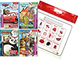 Disney and Dreamworks Characters Magic Pen Painting Activity Books, Set for Boys with ZIPPER BAG. Includes: Zootopia, Kung Fu Panda, Madagascar, Cars Invisible Ink & Magic Pen Coloring books