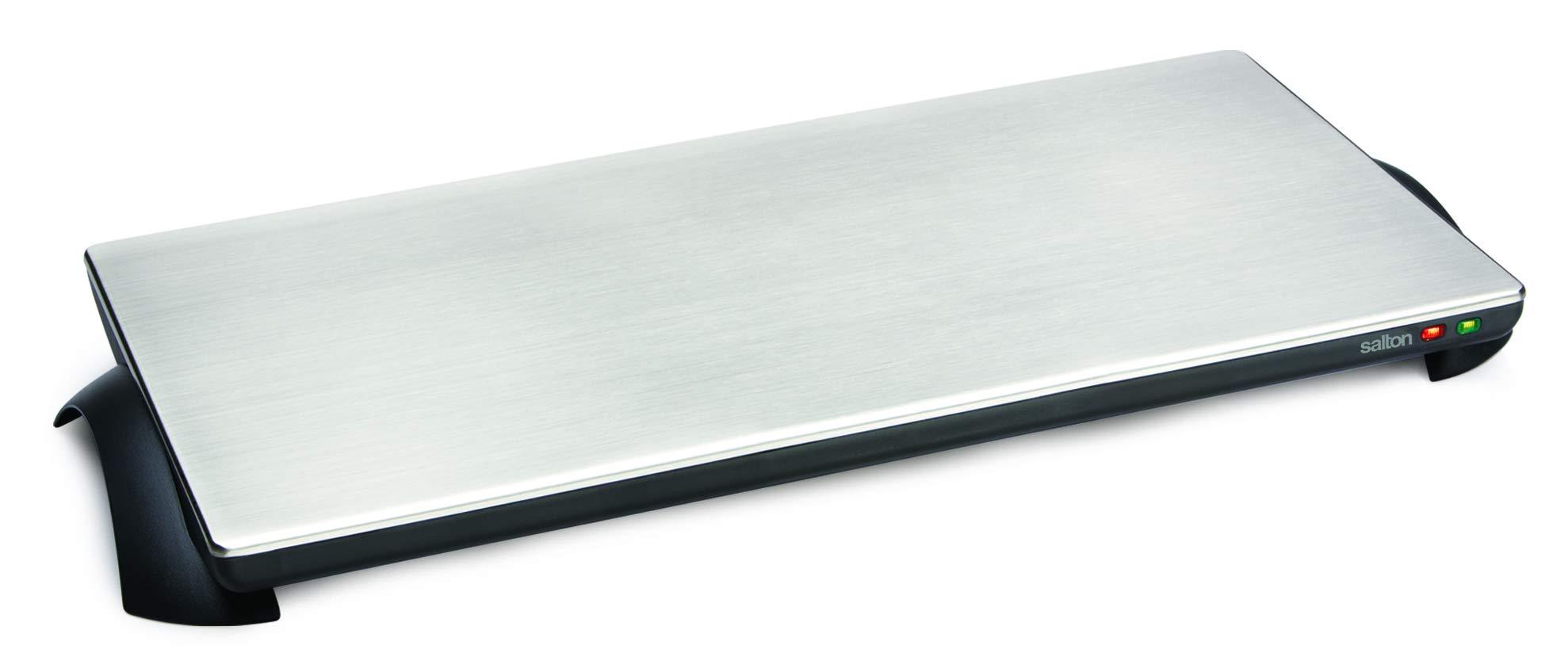 Salton TWT-40 Silhouette 1000-Watt Cordless Classic Stainless-Steel Warming Tray, 4 Plate by Salton