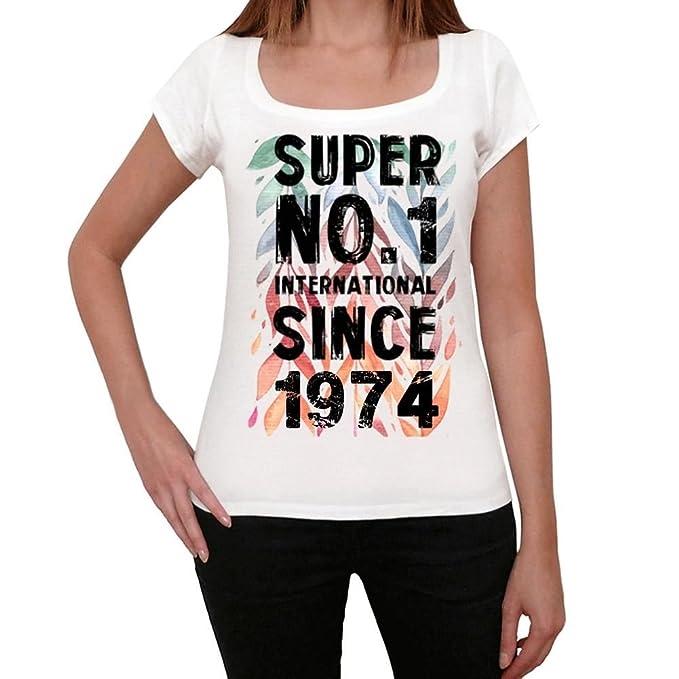 1974, Super No.1 Since 1974 Mujer Camiseta Blanco Regalo De ...