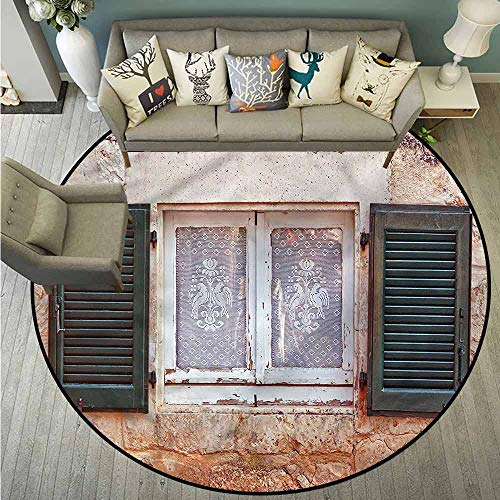 (Indoor/Outdoor Round Rugs,Country,Cottage with Antique Window,Super Absorbs Mud,4'11