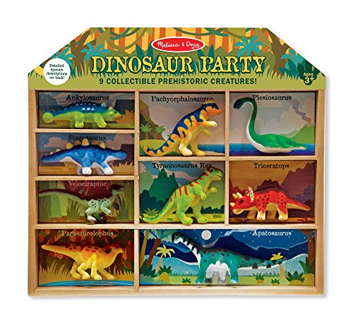 Stegosaurus Dinosaur Miniature - Melissa & Doug Dinosaur Party Play Set - 9 Collectible Miniature Dinosaurs in a Case