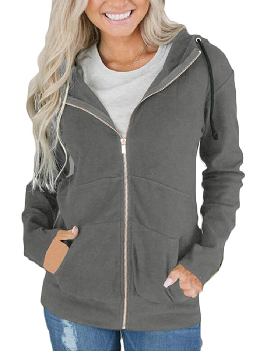 CBTLVSN Womens Hoodies Pure Color with Pockets Hooded Casual Zipper Sweatshirt Jackets