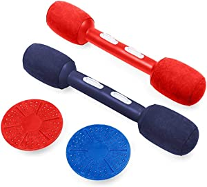 HearthSong Indoor/Outdoor Balance Jousting Set for Active Kids' Play, Includes Two Inflatable Boppers and Two Balance Boards