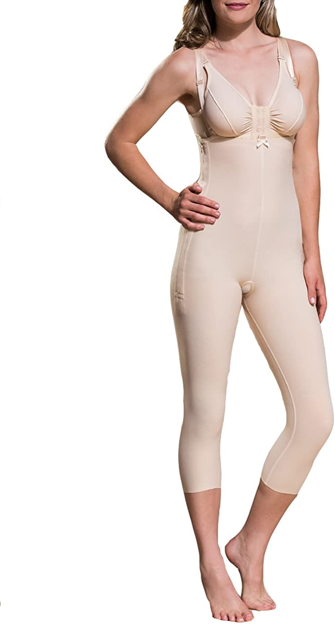 Marena Support Girdle with Suspenders and Medium Legs F5 Certified Compression Garment L, Beige