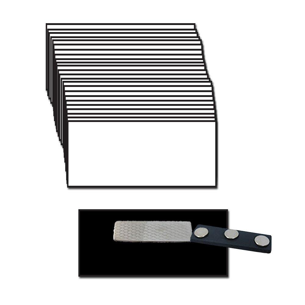 Name Badges with Super Strong Magnetic Fastener - 25 Pack Bulk White/Black Blank Plastic Beveled Finished Edges 1.5'' X 3''