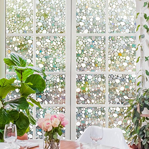 Rabbitgoo 3D No Glue Window Film Privacy Film for Glass Windows Door Film Glass Film Window Stickers, Pebble Decorative Window Film for Home Kitchen Living Room Bedroom Office, 35.4in. By 78.7in.