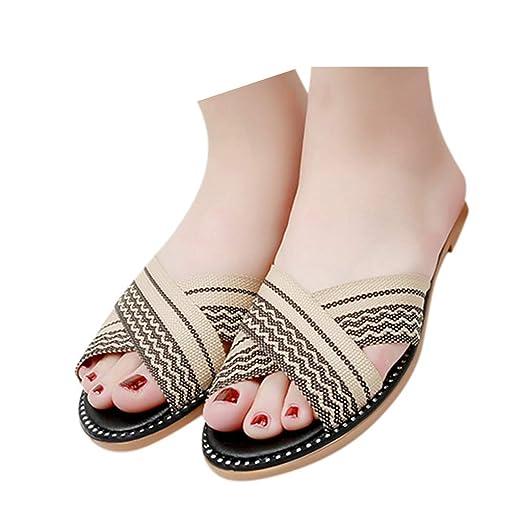 7ee73fc7f2a49 Amazon.com: Veodhekai Womens Flats Sandals Striped National Style ...