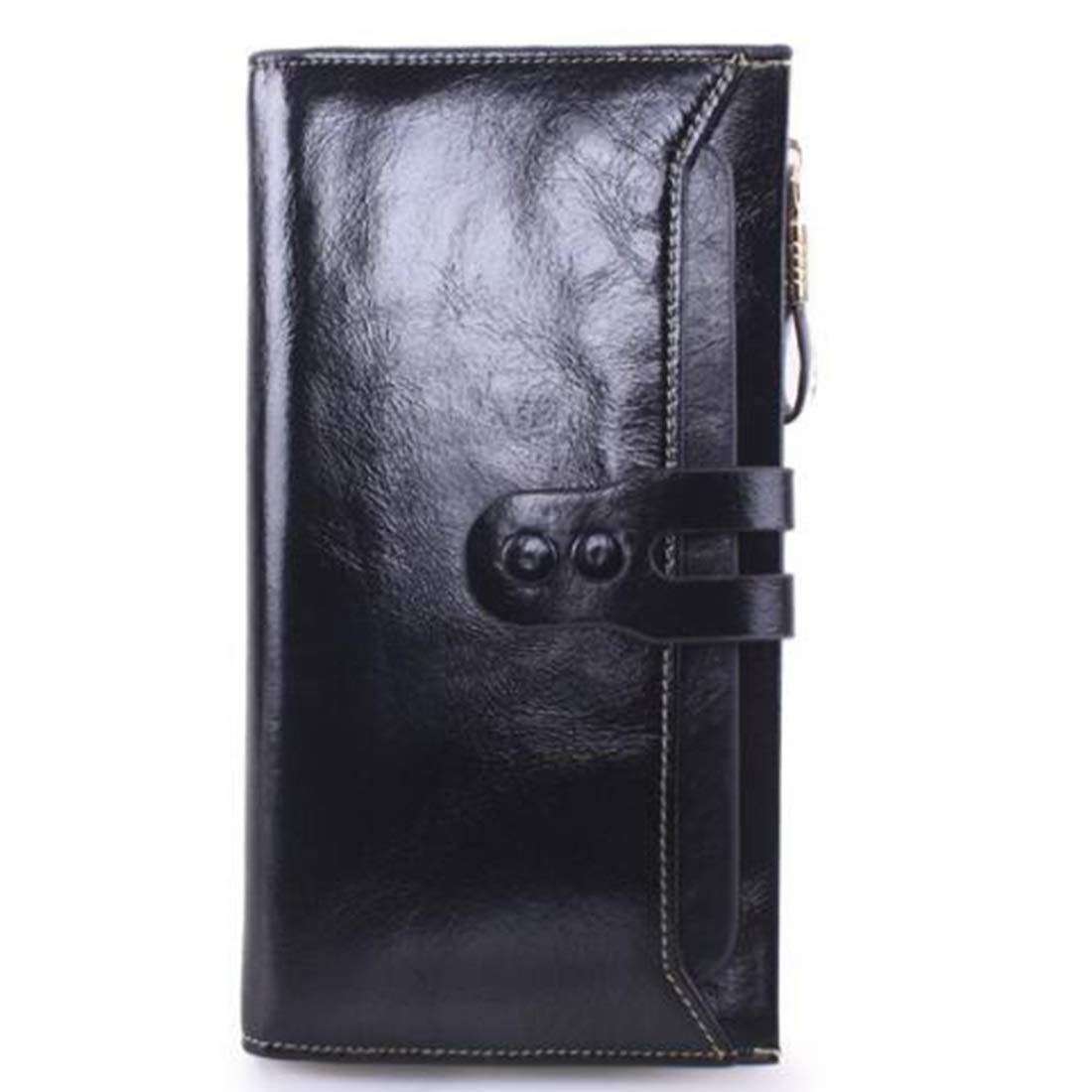 Professional Bag Long Wallet Unisex Zipper Wallet Fashion Large Capacity Folding Wallet Leather Cowhide Multicolor Available Select. Outdoor Travel Essentials (color   Black)