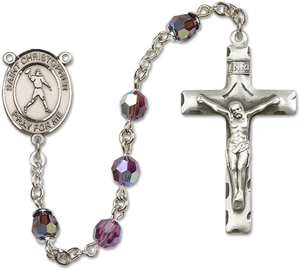 All Sterling Silver Rosary with Amethyst Austrian Tin Cut Aurora Borealis Beads St Christopher//Football Center is the Patron Saint of Travelers//Motorists. 6mm Swarovski