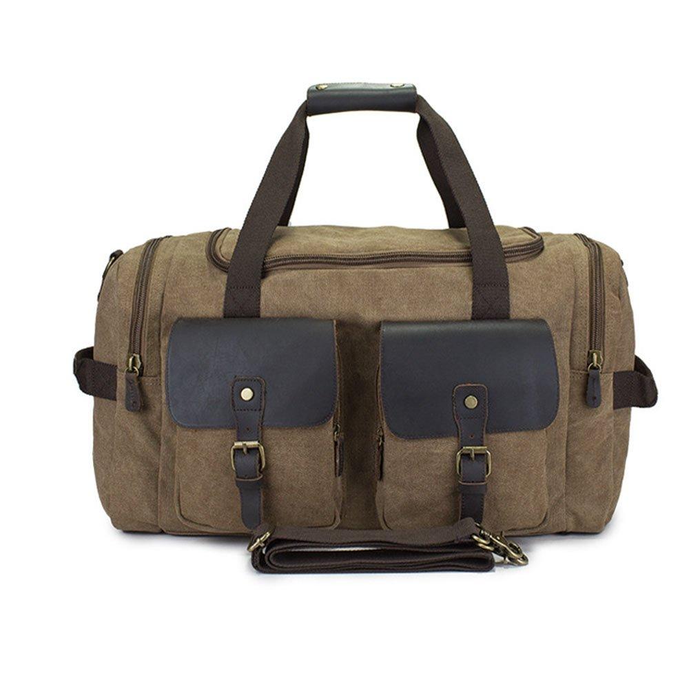旅行バッグ スタイリッシュなシンプルさキャンバストラベルバッグカジュアルメッセンジャーバッグショルダーバッグ大容量荷物収納パッケージ スポーツバッグ トラベルバッグ (色 : 褐色)  褐色 B07P5Z2WFJ