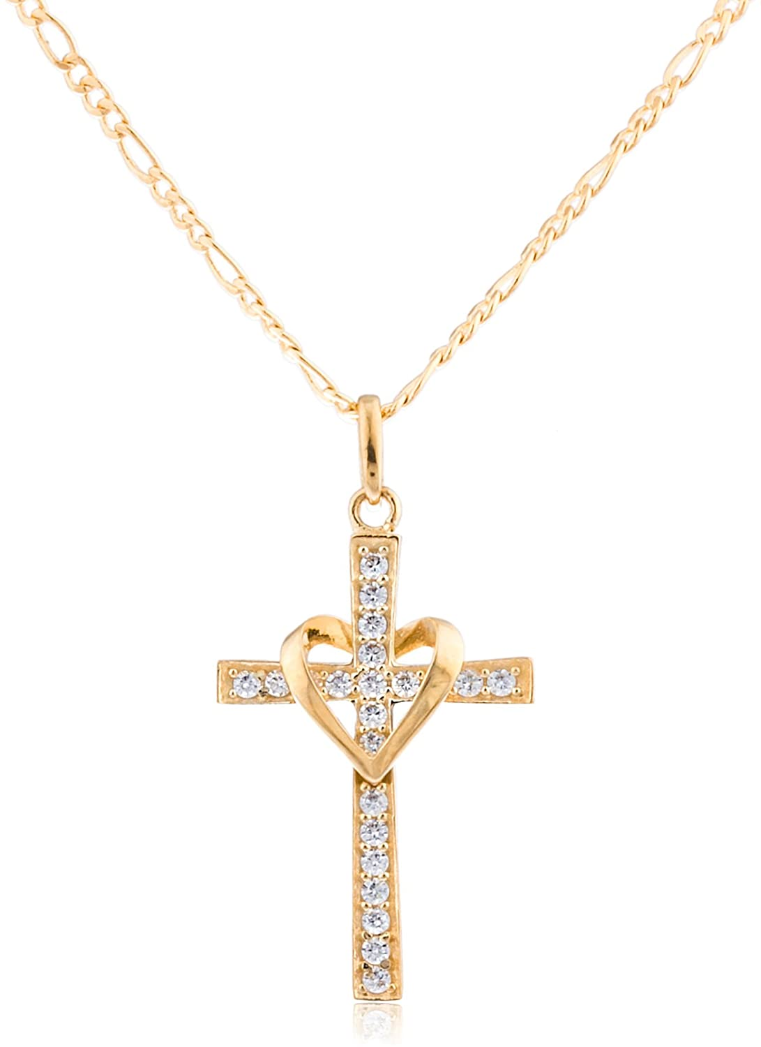 Amazon 10k yellow gold heart cross pendant with an 18 inch amazon 10k yellow gold heart cross pendant with an 18 inch gold overlay figaro necklace go 649 jewelry aloadofball Image collections